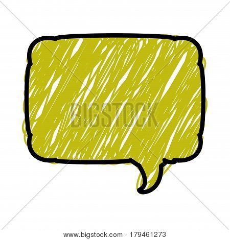 green color pencil drawing silhouette of rounded rectangle speech vector illustration