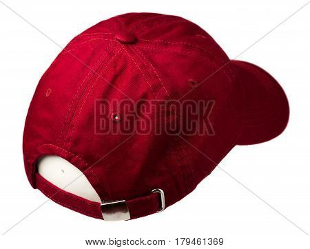 Cap Isolated On White Background. Cap With A Visor. Red Cap