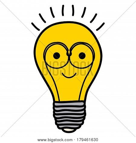 color background of light bulb with filament in shape cartoon with glasses vector illustration