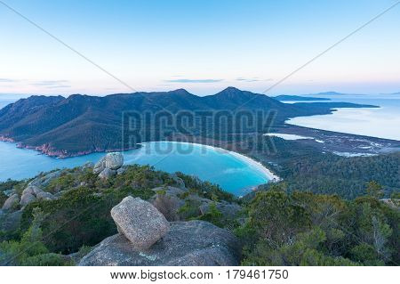 Aerial Panorama Of Wineglass Ay Beach And Freycinet National Park
