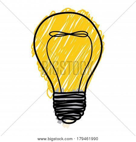 yellow pencil drawing background of light bulb with filament in shape of helix vector illustration