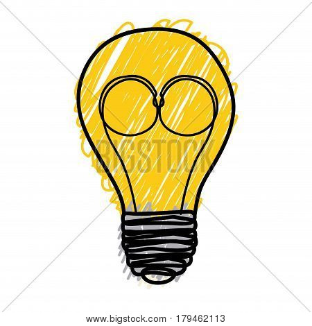 yellow pencil drawing background of light bulb with filament in shape of glasses vector illustration