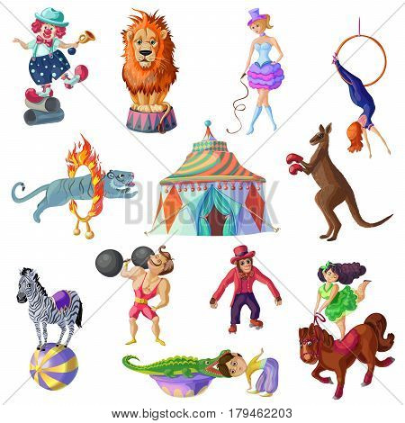 Traveling circus icons set with different artists and trained animals in cartoon style isolated vector illustration