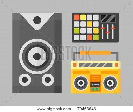 Acoustic musical speaker audio equipment musical technology and loudspeaker volume studio tool stereo entertainment vector illustration. Electronic woofer modern power listen noise voice instrument.