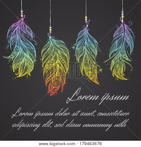 Card with Native American Indian talisman. Vector hand drawn hipster feathers. Boho design, tattoo art.