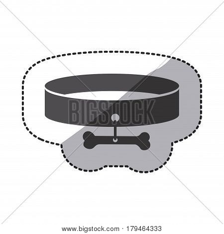silhouette dog collar sticker line icon, vector illustration