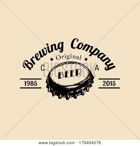 Craft beer bottle cap logo. Old brewery icon. Hand sketched ale illustration. Vector vintage lager label or badge
