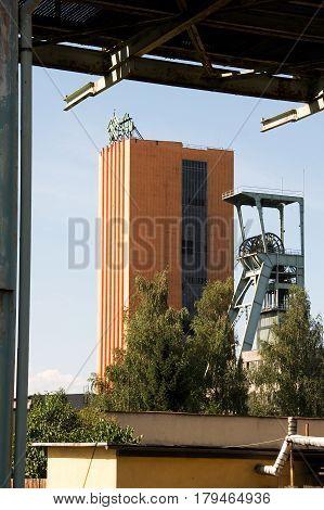 OSTRAVA, CZECH REPUBLIC, JULY 31, 2012 - Functional coal mine shaft named CSM