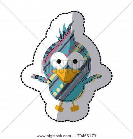 beautiful decorative cartoon bird with big ayes, vector illustration