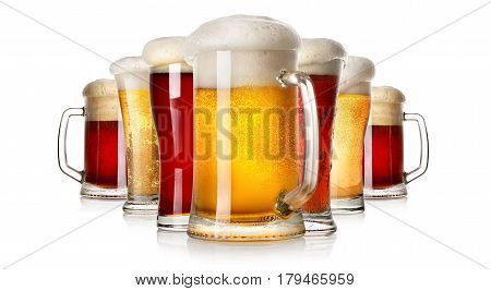 Lots of beer isolated on a white background