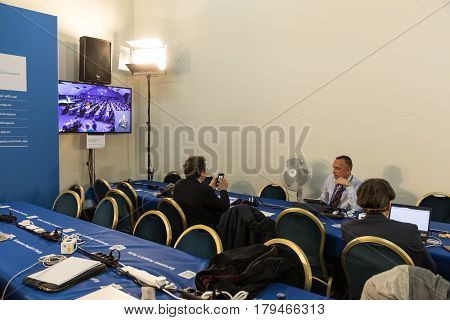 ST. JULIAN'S - MALTA 29 March 2017: Congress of the European People's Party (EPP) in Malta. Working moments of the EPP Congress. Press center of the congress.