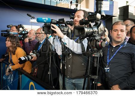 ST. JULIAN'S - MALTA 30 March 2017: Press photographers and videographers during congress of the European People's Party (EPP) in Malta. Working moments of the EPP Congress. Press center of the congress.