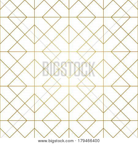 Seamless geometric pattern. Golden lines on white background. Texture with rhombus and nodes. Abstract vector eps8 illustration.