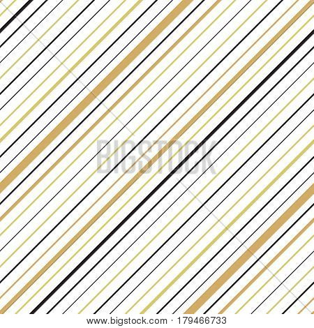 Golden colored diagonal striped seamless pattern. Repeating texture with goldish and black parallel lines on white background. Multicolor lined vector illustration.