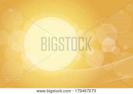 Crossing transparent circles and twisted intertwined curved lines on golden gradient background. Random bubbles and waves placed on gold color banner with room for text. Vector eps10 illustration.