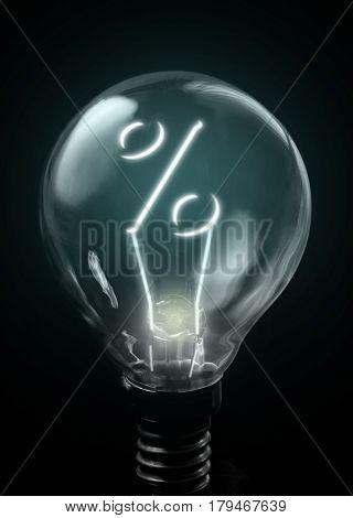 Percentage sign lit up inside a light bulb