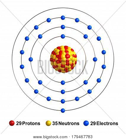 3d render of atom structure of copper isolated over white background Protons are represented as red spheres neutron as yellow spheres electrons as blue spheres