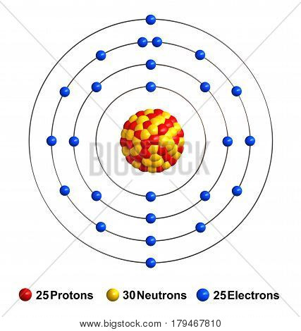 3d render of atom structure of manganese isolated over white background Protons are represented as red spheres neutron as yellow spheres electrons as blue spheres