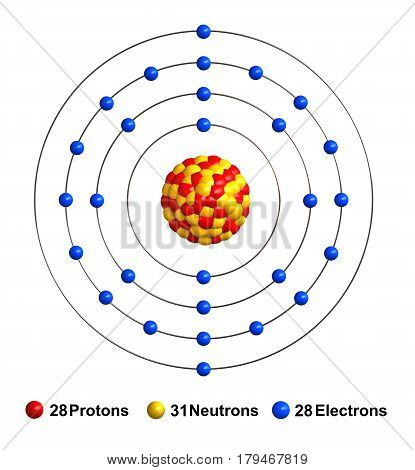 3d render of atom structure of nickel isolated over white background Protons are represented as red spheres neutron as yellow spheres electrons as blue spheres