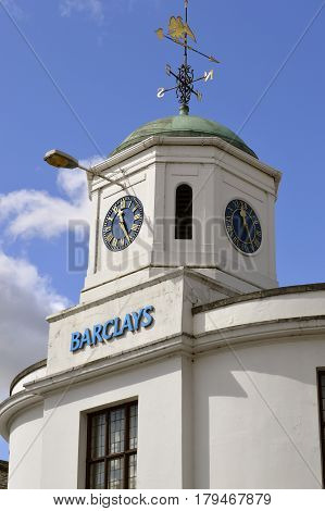 Stratford-upon-Avon Warwickshire England - September 16 2014 : Barclays Bank clock tower in Stratford-upon-Avon