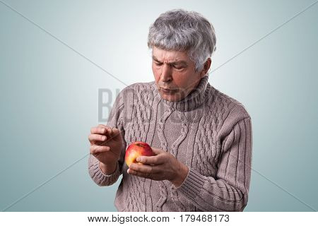 A mature man with gray hair dressed in sweater holding a spoiled apple looking at it attentively examining it. Senior man holding an apple in his hands. A slightly rotten apple.
