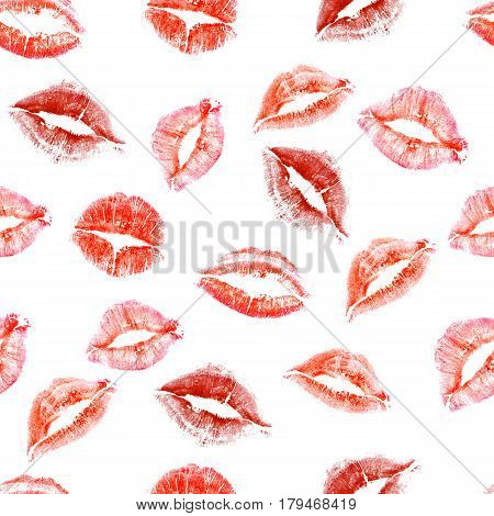 Seamless pattern of lip prints of love kisses on white background