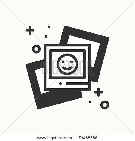 Photograph line outline icon. Photo, picture, photography, snapshot sign. Vector simple linear design. Illustration. Flat symbols Thin element