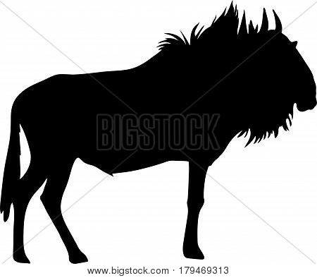 Silhouette of a standing blue wildebeest antelope, hand drawn vector illustration isolated on white background