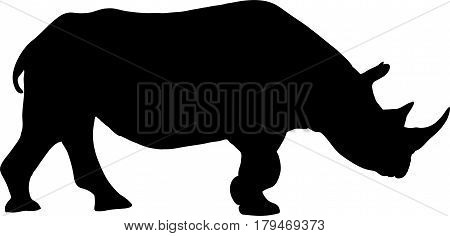 Silhouette of a standing rhinoceros, hand drawn vector illustration isolated on white background