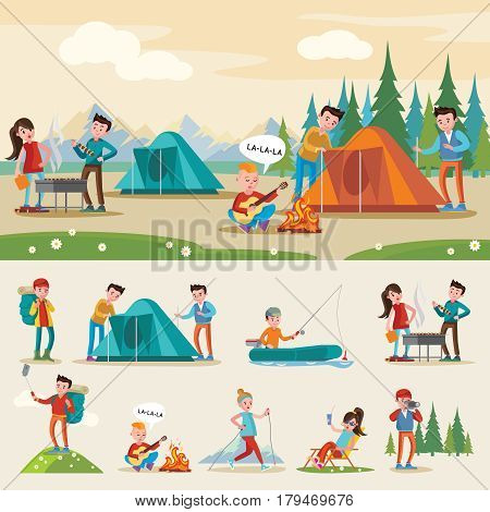 Traveling camping composition with relaxing eating fishing walking photographing singing and drinking tourists on outdoor recreation vector illustration