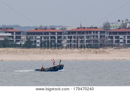 FISHING BOAT - Blue boat on the Pomeranian bay