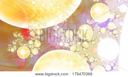 Magic air bubbles. Microcosm. Cluster of planets. 3D surreal illustration. Sacred geometry. Mysterious psychedelic relaxation pattern. Fractal abstract texture. Digital artwork graphic astrology magic