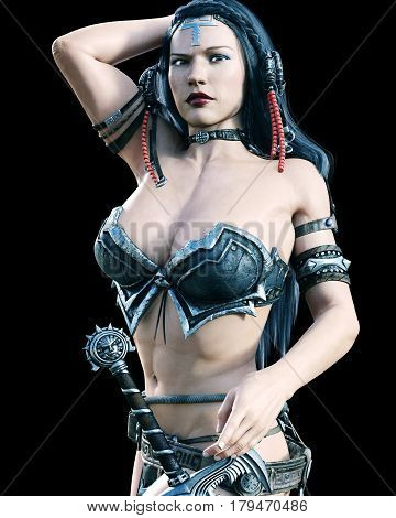 Warrior amazon woman with sword. Long dark hair. Muscular athletic body. Girl standing candid provocative aggressive pose. Photorealistic 3D rendering isolate illustration. Vintage tinting.