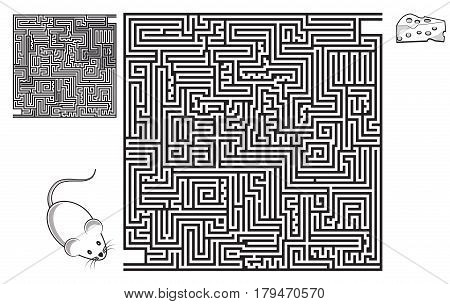 Square maze game with solution. Mouse and piece of cheese. Coloring page.
