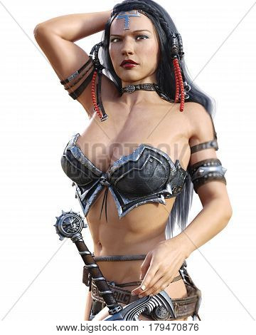 Warrior amazon woman with sword. Long dark hair. Muscular athletic body. Girl standing candid provocative aggressive pose. Photorealistic 3D rendering isolate illustration.