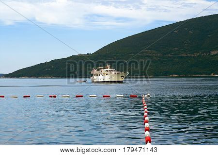 Big sailing ship. Tourist ship in Montenegro