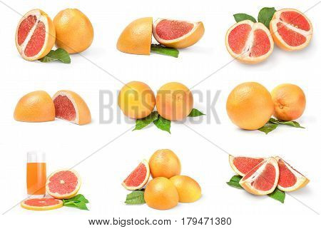 Set of grapefruit isolated on a white background cutout