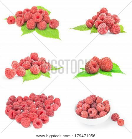 Set of juicy raspberry on a white background cutout