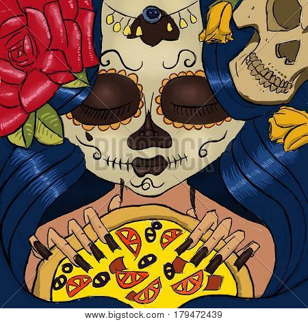 Illustration of day of the dead girl holding pizza