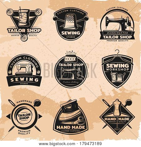 Black sewing and tailor labels collection with equipment items and tools on vintage background isolated vector illustration