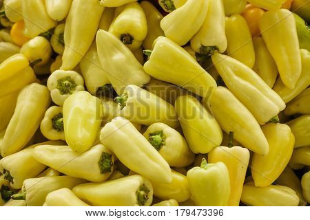 Green pepper background. Fresh and organic vegetables at farmers market. Marketplace. Natural produce.