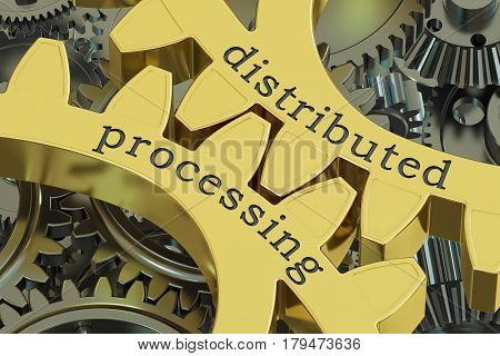 distributed processing concept on the gearwheels 3D rendering