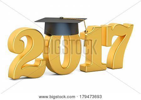 Graduate 2017 golden 3D rendering isolated on white background