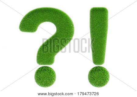 Grass symbols question and exclamation marks 3D rendering isolated on white background