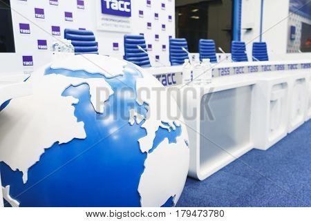 MOSCOW - September, 2016: empty and prepared for the event, modern stylish studio for meetings, presentations, events and television broadcast of the largest Russian news agency TASS poster