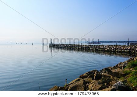Breakwater On Adriatic Sea. Goro Port View.