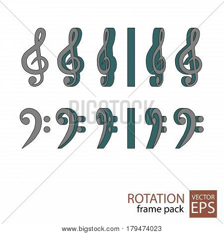 Treble And Bass Clef Rotating Icon Set Of Frames