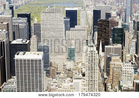 New York City USA - May 03 2015: aerial view of Manhattan buildings with Central Park behind