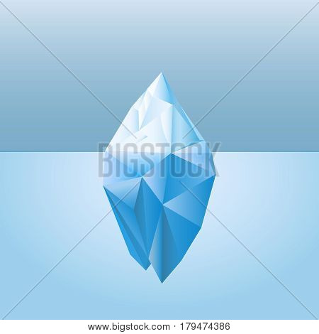 Low poly style iceberg for infographic metaphor business iceberg northern on water sea illustration