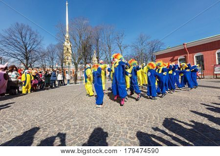 Saint-Petersburg, Russia - April 1, 2017: Clowns performance on Funny festival XVI on Peter and Paul Fortress territory